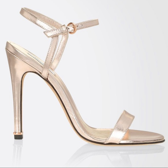 Max Mara Rose Gold Leather Ankle Strap